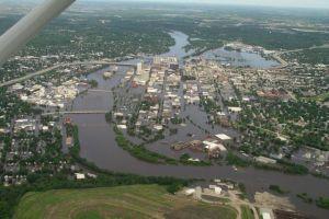 Cedar Rapids Downtown at the flood crest, June 13, 2008